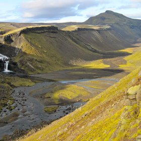 Islandic valley created during a volcanic eruption