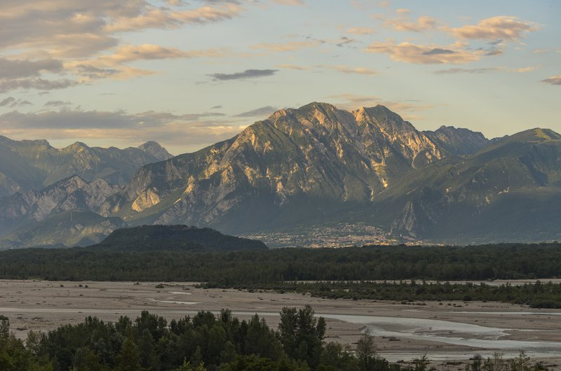 Valley of the river Tagliamento at sunset