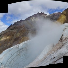 Plinth Peak and the fumarole ice cave at Mount Meager Volcano