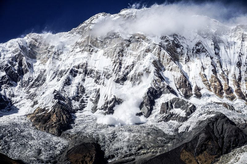 A dramatic avalanche from Annapurna South