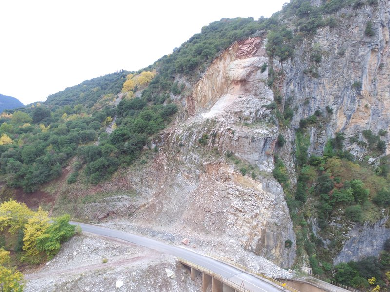 Rockslide in Evritania, Greece