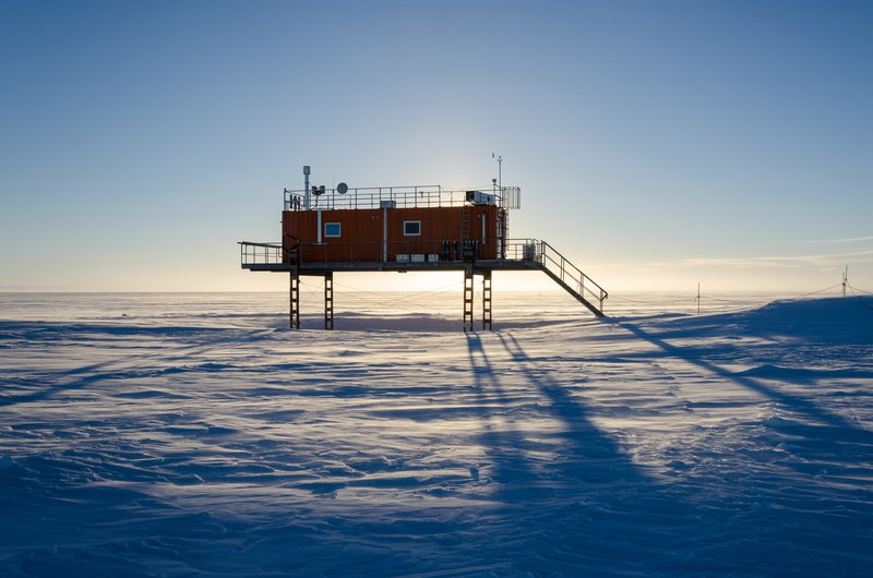 A science outpost in midnight sun