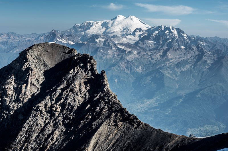The rocky and glacier peak of Greater Caucasus