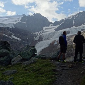 Standing on the top of a glacial moraine