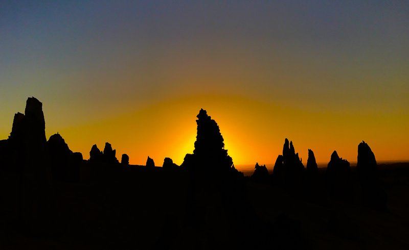 Pinnacles in Nambug National Park at sunset