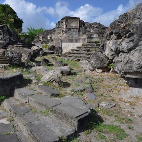 Blackened ruins in Saint-Pierre (Martinique)