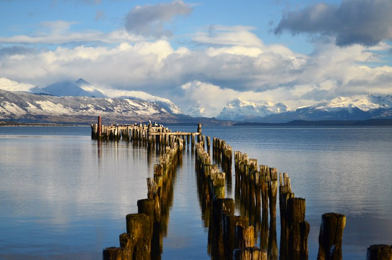 Old Dock in Puerto Natales city in southern Chile