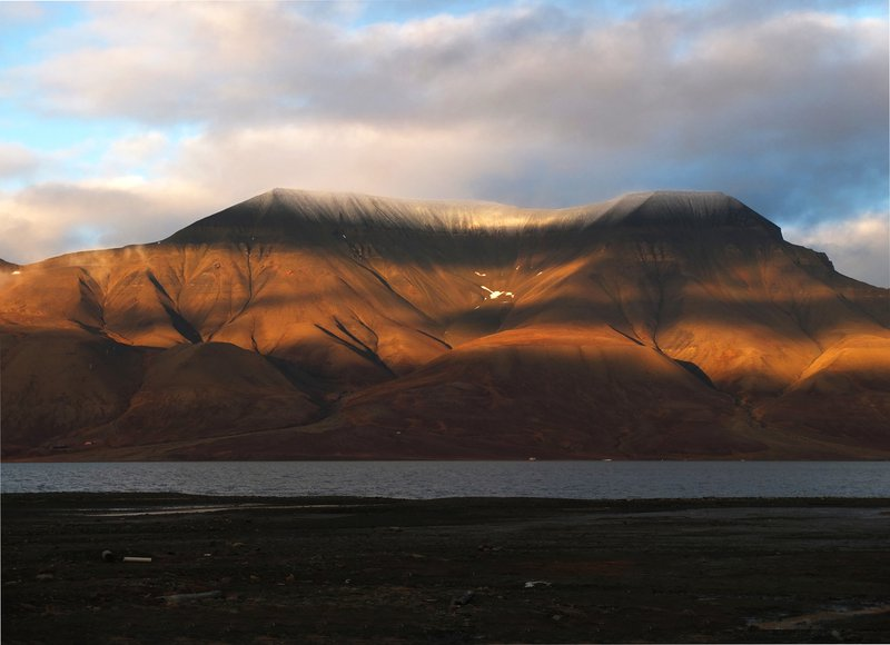 Orographic cloud over glacial landform in Svalbard