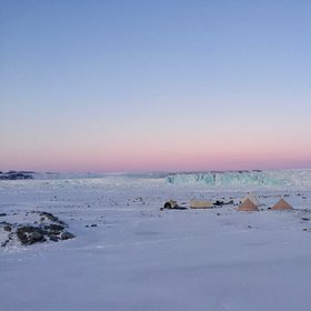 Camping at -25°C at a glacier front in Greenland.
