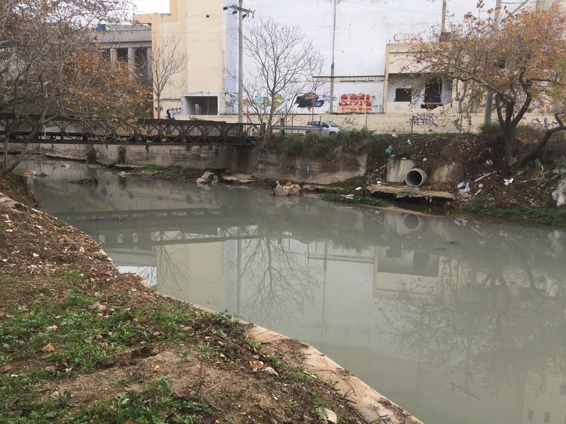 Kifisos river near houses at Athens, Greece