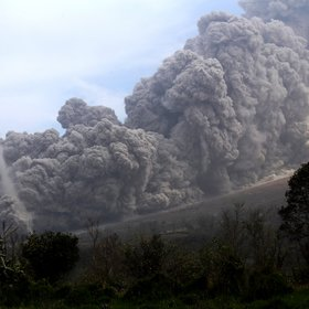 Pyroclastic flow and dust tornado, Sinabung, Indonesia (2015)