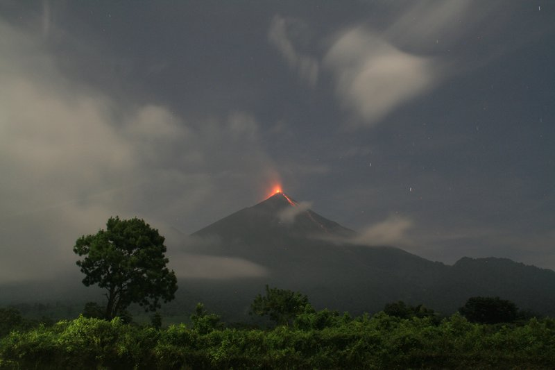 Fuego volcano at night from a local football pitch