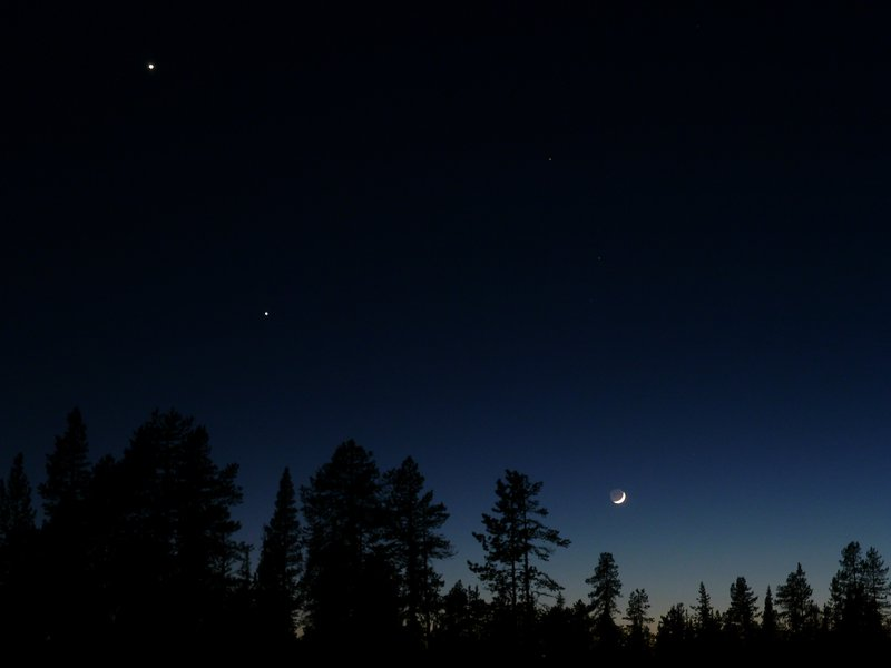 Waxing crescent moon with Venus and Jupiter