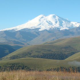 Greater Caucasus.   Volcano Elbrus 5642 m. (The Top of Europe).