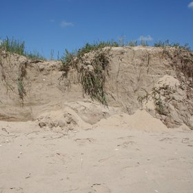 Sand dune eroded by the sea