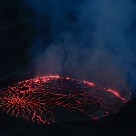 Permanent lava lake at Mount Nyiragongo (stratovolcano)