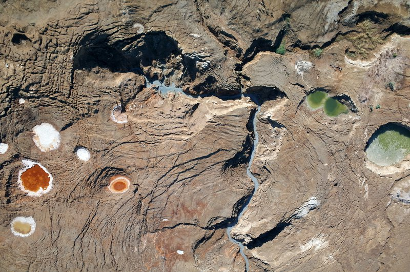 Aerial view of sinkholes and depressions at the Dead Sea