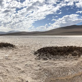 Soil salt crust after a rainy day in the Atacama Desert