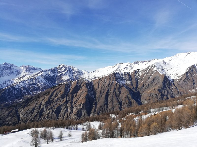 Slopes of Bardonecchia in a sunny day