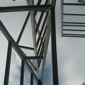 Scaffolding from the caissons in the harbor of Thermaikos