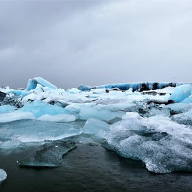 Blue glacier, Iceland. Understanding the Global Warming.