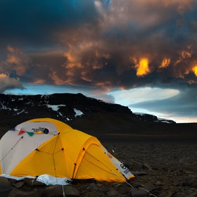Sunset over Lachman Crags on James Ross Island, Antarctica