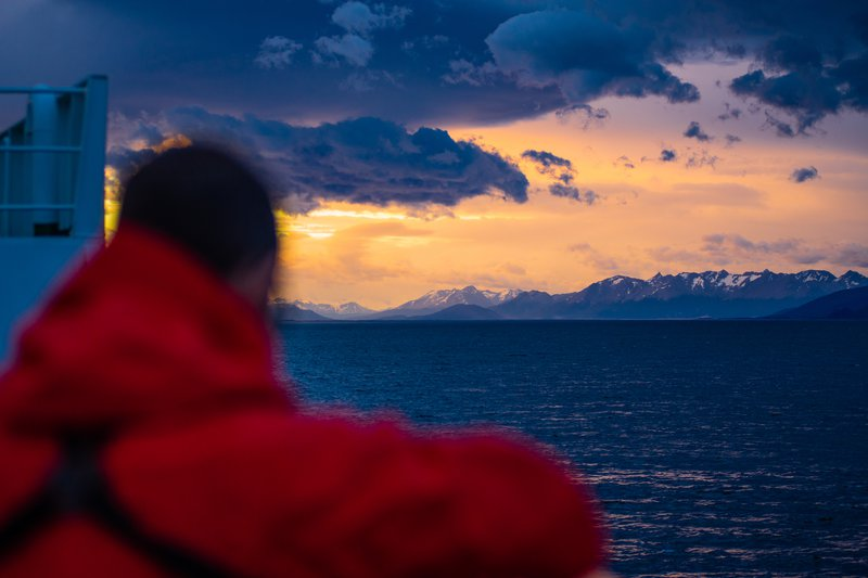 Sunset over the Beagle Channel - leaving Ushuaia
