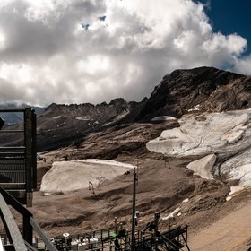 Small remnants of Schneeferner glacier at Zugspitze