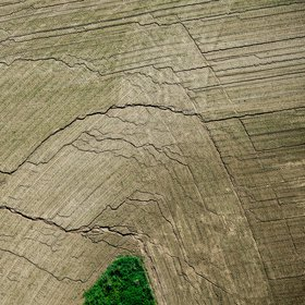 Field erosion - aerial photography