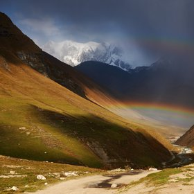 Rainbow over the Shkhara gorge