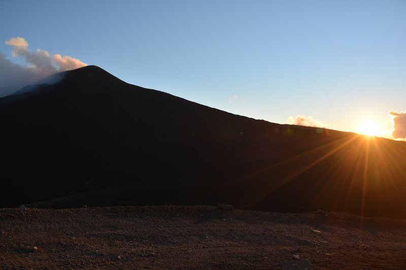 Beautiful sunset and summit of Mt. Etna
