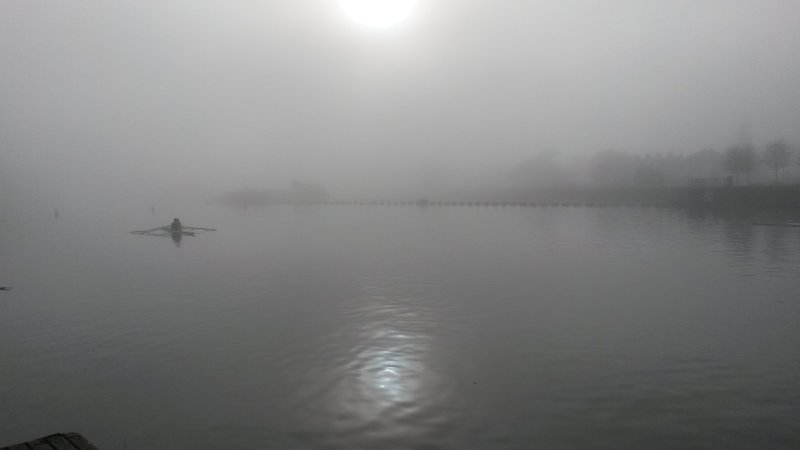 Dense fog over Exeter Quay