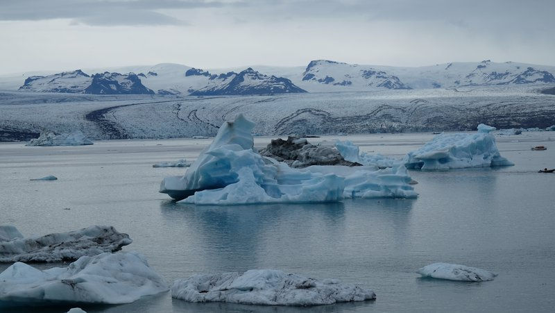 Floating ice in the glacial lake of Jökulsárlón