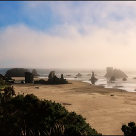 Foggy Bandon beach, Oregon