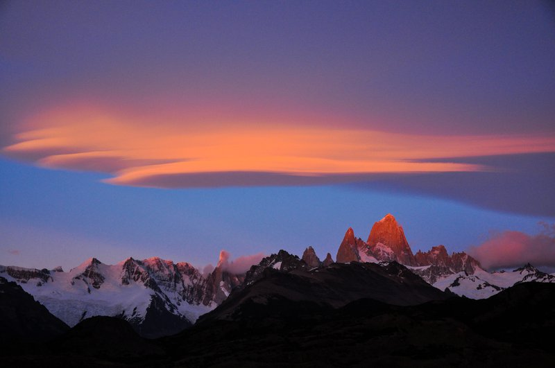 Lenticular Clouds over Fitz Roy at Sunrise