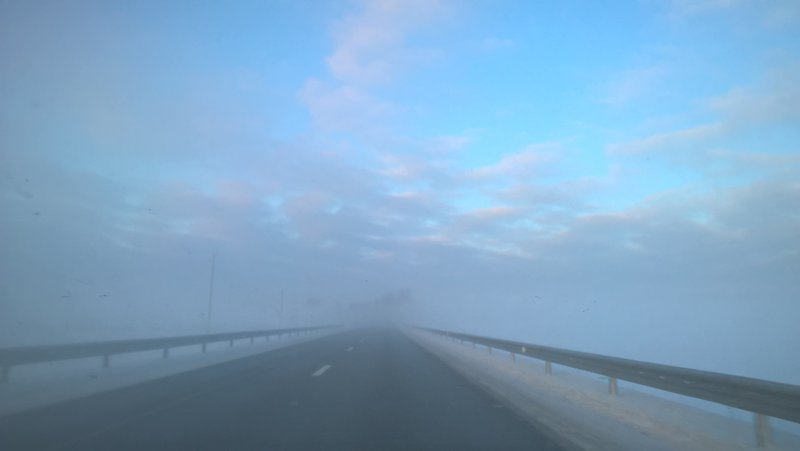 Fog on the road from Rezekne to Riga