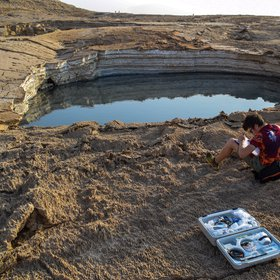 Sampling of sulfurous sinkhole water, Ghor Al-Haditha