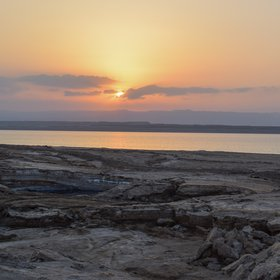 Sunset over the Eastern Dead Sea shore, Ghor Al-Haditha