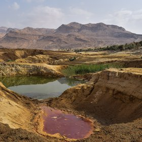 Crazy colours in a cluster of sinkholes at Ghor Al-Haditha