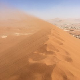 Flying sand in Namib Desert