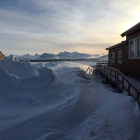 Snow drifts in Ny Alesund, Svalbard