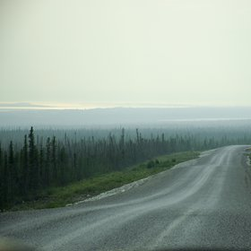 Smoky view of the Mackenzie River
