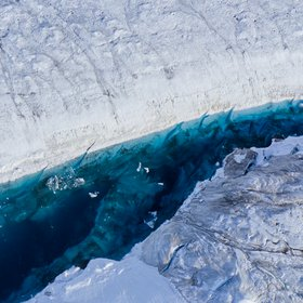 Melt water lake on 79°N Glacier in Greenland