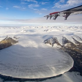 Elephant Foot Glacier in Greenland from a Twin Otter perspective