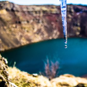 Icicle on the slopes of  volcanic crater lake