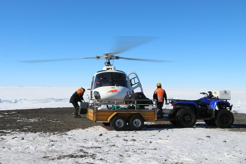 Loading a helicopter at Scott Base, Antarctica