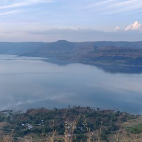 View of Urmodi Dam from Sajjangad , Satara , Maharashtra, India.