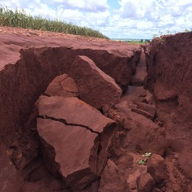 Soil erosion after heavy rainfall