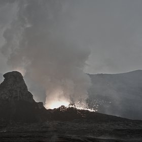 Lava spilling in Nyiragongos's crater