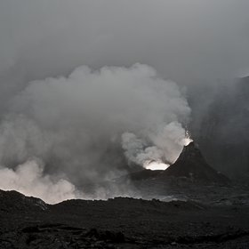 Explosion inside the condensed emisssions of Nyiragongo